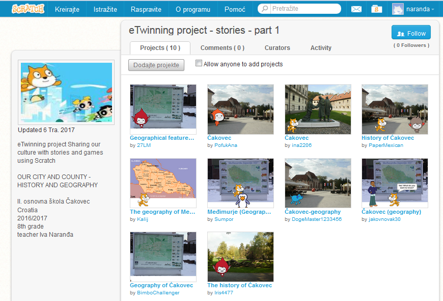 eTwinning project Sharing our culture with stories and games using Scratch